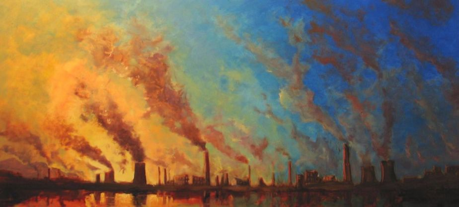 Climate Change - Factories in China - Oil on Synthetic surface