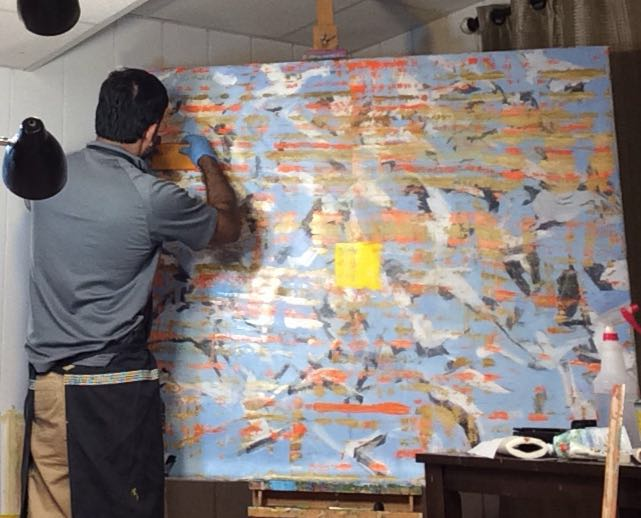 Mahinth in his studio